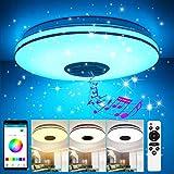 LED Deckenleuchte Dimmbar 36W, GGHKDD 2 silberne Drähte Stern Deckenlampe APP Fernbedienung Bluetooth Lautsprecher, Schlafzimmerleuchte Kinderzimmerlampe Wohnzimmerlampe 35CM