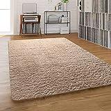 Paco Home Hochflor-Teppich, Shaggy Waschbar Für Wohnzimmer Und Schlafzimmer, Einfarbig in Beige, Grösse:140x200 cm