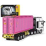 Seasy Technik Bausteine LWK mit Container, 6514 Klemmbausteine Technik Lastwagen Bauset, Konstruktionsspielzeug mit Technic