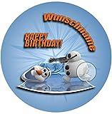 Für die Geburtstags Torte mit Wunschname, Zuckerbild mit dem Motiv: Frozen Die Eiskönigin, Essbares Foto für Torten, Fondant, Tortenaufleger Ø 20cm, 0223c