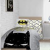 Warner Brother Always Be Batman Dark Knight Logo, grau-weiß, wendbar, Bettbezug-Set mit Kissenbezug, offizielles Lizenzprodukt, Einzelbett (135 x 200 cm), Poly