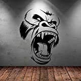 Opprxg Wütend Gorilla Gesicht Wandaufkleber Vinyl Aufkleber Wandbild Art Deco Tier Wohnzimmer Wanddekoration Aufkleber 56X77cm