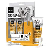 Animigo Denti-Care Hundezahnpasta - 2x 100g Hunde Zahncreme mit Hundezahnbürste & Fingerzahnbürste - Bei Zahnstein & Mundgeruch - Hundezahnpflegeset mit natürlichen Zutaten für Zähne & Zahnfleisch