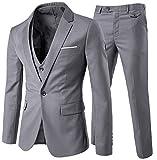YOUTHUP Herren Anzug Slim Fit 3 Teilig Anzüge Herren Sakko für Hochzeit Business Anzugjacke Anzughose Weste