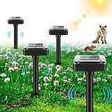 [4 Stück] Maulwurfabwehr Solar, Ultrasonic Solar Maulwurfschreck, IP56 Wasserdicht Wühlmausschreck, Mole Repellent, Maulwurfbekämpfung, Solar Tiervertreiber Schädlingsbekämpfung für Den Garten