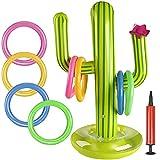 BESTZY Ringwurfspiel Aufblasbare, 10 Stück Aufblasbares Kaktus Ring Wurf Spiel Set 1 Aufblasbaren Kaktus, 8 Farbe Aufblasbare Ringe und 1 Luftpumpe für Sommer Hawaii Kindergeburtstag Party
