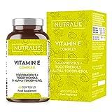 Vitamin E Maximaler Natürlicher Aufnahme | Antioxidativer Zellschutz mit 8 Molekülen von Tocopherolen und Tocotrienolen | 60 Kapseln Flussig Nutralie