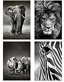 PICSonPAPER Poster 4er-Set Wildlife, ungerahmt DIN A4, Dekoration fürs Wohnzimmer oder Büro, Dekoposter, Kunsstdruck, Wandbild, Elefant, Löwe, Nashorn, Zebra, schwarz Weiss, Geschenk (Format DIN A4)