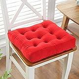 HGDM Stuhlkissen Aus Weichem Samt, Atmungsaktives Sitzerhöhungskissen Dickes Kissen rutschfeste PP-Baumwoll Gefüllte Quadratische Stuhlauflagen,Rot,20x20inch