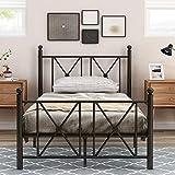 Metallbett mit Kopf- und Fußteil, Bett für Schlafzimmer der Kinder, Jugendliche, Erwachsene, Gästebett, Schwarz (Dunkel, 90 x 200 cm)