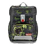 """Step by Step Schulranzen-Set Cloud """"Black Cat"""" 5-teilig, schwarz-grün, Dschungel-Design, ergonomischer Tornister mit Reflektoren, höhenverstellbar mit Hüftgurt für Jungen 1. Klasse, 19L"""