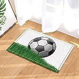 lovedomi Sportdusche Dekor Cartoon Fußball Auf Grasland Für Kinder Bad Teppiche rutschfeste Fußmatte Boden Eingänge Innen Haustür Matte Kinder Badematte 15.7X23.6In Badezimmerzubehör