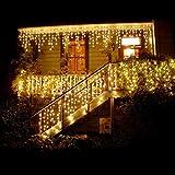 SMAA LED-Fenster Eiszapfen-Schnur-Licht Dekorative Beleuchtung, mit Fernbedienung (8 Modi, dimmbare, IP65 wasserdicht) Wasserdicht Cascading Licht für Feiertags-Party Hochzeit Weihnachten,Warmwhite