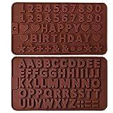 IHUIXINHE 2 Stück Silikon-Schokoladenform Buchstaben und Zahlen Silikon, Silikonformen 2er-Set, Deko Geburtstagskuchen,Gießformen für Schokolade