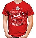 Mein Leben Essen Männer und Herren T-Shirt | Fussball Ultras Geschenk | M1 Front (L, Rot)
