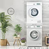 ECD Germany Verbindungsrahmen Universal mit ausziehbarer Ablage für Waschmaschine und Trockner, aus Stahl, 60x60cm, Weiß, Zwischenbaurahmen Zwischenrahmen Zwischenbausatz Waschmaschinenzubehör