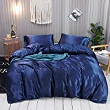 Omela Bettwäsche Satin 135x200 4teilig Blau Einfarbig Glatt Glänzend Bettbezüge mit Reißverschluss 100% Glanzsatin Polyester Sommerbettwäsche Set Kissenbezüge 80x80 cm