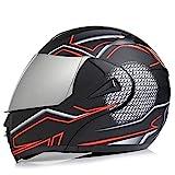 SJAPEX Klapphelm Motorradhelm Modularer Helmet Integralhelm Anti-Fog Doppelvisier Kopfschutz Schutzhelm für Mofa Chopper Cruiser Pilot klapphelme,ECE Zertifiziert E,XL=57~60cm