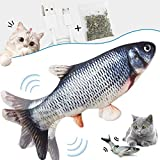 skicare Katzenspielzeug Elektrisch Fisch,Katze Interaktive Spielzeug,USB Simulation Fisch Elektrisch, Plüsch Fisch Spielzeug Fisch mit Katzenminze für Katze zu Spielen,Beißen,Kauen und Treten,Übung