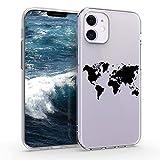 kwmobile Case kompatibel mit Apple iPhone 12 Mini - Hülle Handy - Handyhülle - Travel Umriss Schwarz Transparent