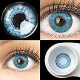 GLAMLENS Flora True Sapphir blau + Behälter | Sehr stark deckende natürliche blaue Kontaktlinsen farbig | farbige Monatslinsen aus Silikon Hydrogel | 1 Paar (2 Stück) | DIA 14,50 | Ohne Stärke
