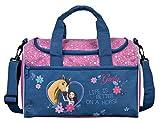 kleine Sporttasche mit Namen   inkl. NAMENSDRUCK   Motiv Spirit & Pferde in dunkel-blau   Personalisieren & Bedrucken   Reisetasche für Mädchen