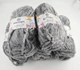 Kartopu 5 x 100 Gramm Yumurcak Chenillewolle Strickwolle, Babywolle, 500 Gramm Wolle Super Bulky (grau 951)