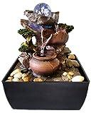 Zimmerbrunnen Feng Shui in Polyresin mit LEDs Jarras/Glaskugel