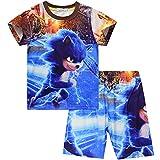 Suyaluoi Sonic The Hedgehog Pyjamas Sommer Kurzarm Pjs Set für Jungen Mädchen Karikatur Charakter Nachtwäsche Kinder Pajama T-Shirt (Blau 2, 7-8 Jahre)