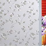 3D kleberfreier Glasaufkleber Rose Vine Leaf mattierte undurchsichtige Glasfensterfolie Diamant Privatsphäre dekorative Glasfolie A48 60x100cm