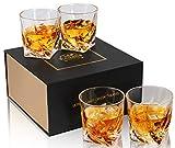 KANARS Whiskey Gläser Set, Bleifrei Kristallgläser, Whisky Glas, Schöne Geschenk Box, 4-teiliges, 300ml, Hochwertig