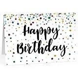 XXL Geburtstagskarte (A4) | Happy Birthday modern | mit Umschlag | Glückwunsch zum Geburtstag | edle und hochwertige Klappkarte | Grußkarte | Maxikarte extra groß