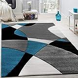 Paco Home Designer Teppich Modern Geometrische Muster Konturenschnitt In Türkis Grau Schwarz, Grösse:120x170