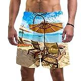 AITAI Herren Strand-Shorts Schöne Tropische Strand Kokospalme Regenschirm Stuhl Schnell Trocknend Sport Badeanzug Badehose Gr. XXL, mehrfarbig