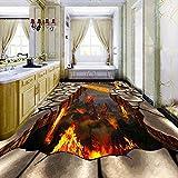 Benutzerdefinierte 3D Vulkan Lava ausgetrocknete Boden Wandbild Boden Tapete moderne Wohnkultur Wohnzimmer Boden PVC wasserdicht Wandbild Tapete-150 * 105cm