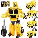 Yojoloin Transformers Roboter Fahrzeug Spielzeug, Dump, Kran, Bagger, Bulldozer, Bau Autos zusammenbauen Set für 3 4 5 6 Jahre alt Jungen Mädchen Kinder Weihnachtsgeburtstagsgeschenk