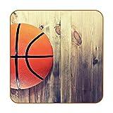 Retro-Basketball-Untersetzer aus PU-Leder für Getränke, 6 Stück, quadratische Getränkeuntersetzer für Zuhause oder Bar, Geschenk zum Einzug