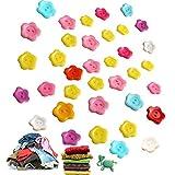 Knöpfe, Pflaumenförmig, bunt, Kunststoff, 2 Löcher, 15 mm, Knöpfe zum Basteln, Nähen, für Kinder, Basteln, Malen, Geschenkdekoration, 200 Stück