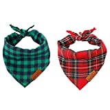 nuluxi Hunde Kopftücher Kostüm Dekoration Waschbar Baumwolle Hund Kopftücher Hund Kariertes Bandana Hundehalstuch Haustier Dreieck Lätzchen für Kleine Mittelgroße Große Hunde und Katze Kostüm Zubehö