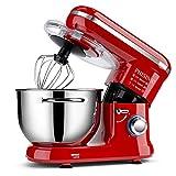 PHISINIC Küchenmaschine 1500W Knetmaschine Rührmaschine mit 5,5 L Edelstahlschüssel, 6 Geschwindigkeiten, Teigmaschine inkl. Knethaken, Schneebesen, Flachrührer und Spritzschutz, R