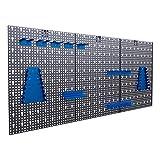 Panorama24 Dreiteilige Werkzeuglochwand Blau aus Metall mit 17tlg. Hakenset, ca. 120 x 60 x 1,5