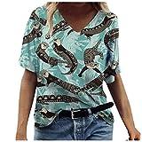 iHENGH Mode Damen Sommer Gedruckt Kurzarm Rundhals T-Shirt Casual Tee Tops(Blau-4, M)