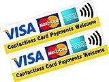"2x bedruckte Vinylaufkleber mit ""Visa, Mastercard, American Express Contactless Card Payments Welcome"" für Geschäft und Taxi."