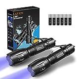 LETION 2 in 1 UV Lampe,LED Taschenlampe Schwarzlicht und Weißes Licht Taschenlampe,395nm Ultraviolette Taschenlampe 4 Modi, Detektor für unechte Banknoten, Urin von Hunde, und andere H
