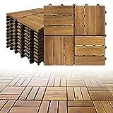 LZQ Holzfliesen aus Akazien Holz, 30 x 30cm 11er Set für 1 m², Garten-Fliese Bodenbelag mit Drainage, Klick-Fliesen für Garten Terrasse Balkon (Model B, 11 Stück | 1m²)