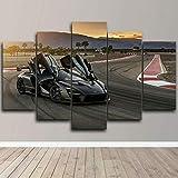 AWER Leinwandbild 765 Racing Track Super Car Modulare Bilder 5 Stück Leinwand Bilder Kunstdruck Wanddeko modern Wandbilder Wand Aufhängen Mit Rahmen