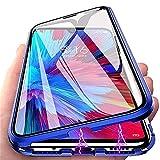 Hikissny Hülle für Samsung Galaxy Note 8 Magnetabdeckung, Metallstoßstange Transparent Vorder und Rückseite Gehärtetes Glas + Kameraobjektivschutz 360° Ganzkörperschutz Flip Cover, Blau