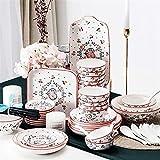 JXH Euro Ceramica Speiseteller-Sets, Keramik-Geschirr-Set, Schüssel/Teller/Löffel, japanischer Stil, Porzellan-Kombinations-Set, 46-teilig