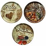 HUIJK 3er Set Pizzateller Oliven-, Salami- und Lieblingspizza Durchmesser 33,3cm Platte XL-Teller