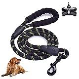 Wuudi Hundeleine für Hunde, 5 FT Trainingsleine Hunde Einziehbare mit Gepolsterte Griff,Reflektierenden Nähte und Sekundär Schaumgriff mit Hundekotbeutelsp
